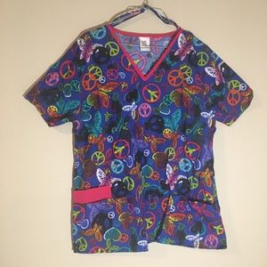 B Scrubs Butterfly Peace Sign Multicolor Scrub Top